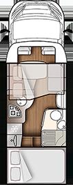 Grundskizze Wohnmobil Forster Teilintegriert T699 HB